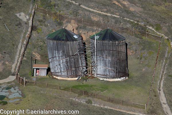 aerial photograph of decaying silos Big Sur, Monterey County, California