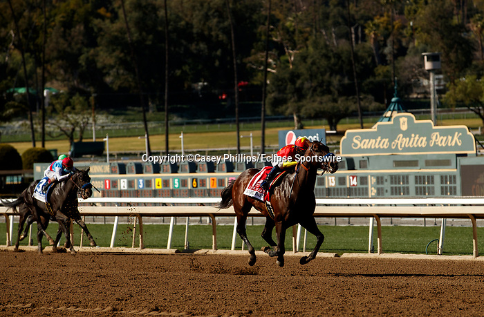 ARCADIA, CA  MARCH 6:  #1 Life is Good, ridden by Mike Smith, leaves the competition behind in the stretch of the San Felipe Stakes (Grade ll) on March 6, 2021 at Santa Anita Park in Arcadia, CA.  (Photo by Casey Phillips/EclipseSportswire/CSM)