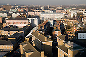 View across Church Street and Lisson Green Estate, in the City of Westminster, towards north London.  The council's social housing is managed by CityWest Homes.