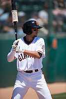 San Jose Giants shortstop Brandon Van Horn (9) on deck during a California League game against the Lancaster JetHawks at San Jose Municipal Stadium on May 13, 2018 in San Jose, California. San Jose defeated Lancaster 3-0. (Zachary Lucy/Four Seam Images)