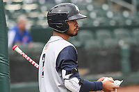 Colorado Springs Sky Sox infielder Luis Sardinas (2) on deck during a Pacific Coast League game against the Iowa Cubs on May 10th, 2015 at Principal Park in Des Moines, Iowa.  Iowa defeated Colorado Springs 14-2.  (Brad Krause/Four Seam Images)