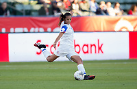 CARSON, CA - FEBRUARY 07: Stephannie Blanco #15 of Costa Rica clears a ball during a game between Canada and Costa Rica at Dignity Health Sports Complex on February 07, 2020 in Carson, California.