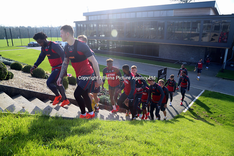 The players walk to the pitch during the Swansea City Training at The Fairwood Training Ground, Swansea, Wales, UK. Wednesday 01 November 2017
