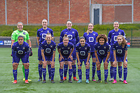 team picture RSC Anderlecht ( goalkeeper Justien Odeurs (13) , Tine De Caigny (6) , Britt Vanhamel (4) , Tessa Wullaert (27) , Laura De Neve (8) and Mariam Abdulai Toloba (19) , Sarah Wijnants (11) , Laura Deloose (14) , Stefania Vatafu (10) , Kassandra Missipo (12) , Jarne Teulings (16) ) before a female soccer game between RSC Anderlecht Dames and AA Gent Ladies on the fifth matchday of play off 1 of the 2020 - 2021 season of Belgian Womens Super League , saturday 8 th of May 2021  in Brussels , Belgium . PHOTO SPORTPIX.BE | SPP | STIJN AUDOOREN