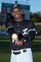 Luis Silverio (8) of the Kannapolis Intimidators poses for a photo prior to the game against the Hickory Crawdads at Kannapolis Intimidators Stadium on April 8, 2016 in Kannapolis, North Carolina.  The Crawdads defeated the Intimidators 8-2.  (Brian Westerholt/Four Seam Images)