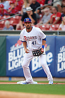 Buffalo Bisons first baseman Chris Colabello (41), on rehab assignment from the Toronto Blue Jays, holds a runner on during a game against the Norfolk Tides on July 18, 2016 at Coca-Cola Field in Buffalo, New York.  Norfolk defeated Buffalo 11-8.  (Mike Janes/Four Seam Images)