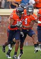 Sept. 3, 2011 - Charlottesville, Virginia - USA; Virginia Cavaliers cornerback Chase Minnifield (13) celebrates with Virginia Cavaliers safety Rodney McLeod (4)during an NCAA football game against William & Mary at Scott Stadium. Virginia won 40-3. (Credit Image: © Andrew Shurtleff