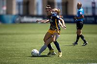 HERRIMAN, UT - JULY 4: Verónica Boquete #21 of Utah Royals FC lys the ball during a game between Sky Blue FC and Utah Royals FC at Zions Bank Stadium on July 4, 2020 in Herriman, Utah.