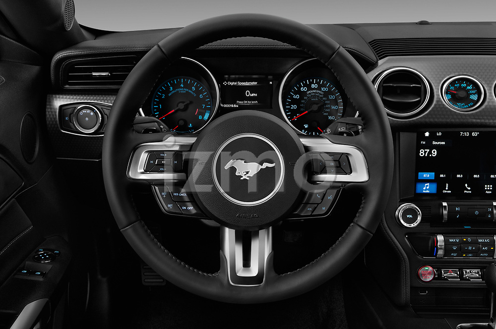 Car pictures of steering wheel view of a 2018 Ford Mustang GT 2 Door Coupe