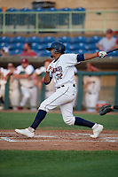 Mahoning Valley Scrappers Johnathan Rodriguez (32) bats during a NY-Penn League game against the Hudson Valley Renegades on July 15, 2019 at Eastwood Field in Niles, Ohio.  Mahoning Valley defeated Hudson Valley 6-5.  (Mike Janes/Four Seam Images)