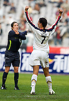 Shannon Boxx of the USA and Carol Anne Chenard. The United States defeated China 1-0 during the finals of the Four Nations Tournament in Guangzhou, China on January 20, 2008.