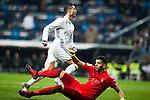 Real Sociedad's goalkeeper Geronimo and Real Madrid's forward Cristiano Ronaldo during the match of La Liga between Real Madrid and   Real Sociedad at Santiago Bernabeu Stadium in Madrid, Spain. January 29th 2017. (ALTERPHOTOS/Rodrigo Jimenez)