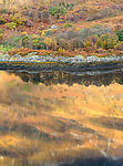 Glencoe; Scotland, Autumn; fall; fallcolor; reflection, water, lake, still, calm, color, sunlight Loch Leven; loch