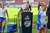 The Scooore Super League ball holder pictured before a female soccer game between Zulte Waregem and the KAA Gent Ladies on the fourth matchday of the 2020 - 2021 season of Belgian Scooore Womens Super League , saturday 10 October 2020  in Waregem , Belgium . PHOTO SPORTPIX.BE | SPP | DAVID CATRY