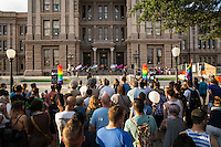 AUSTIN, TEXAS - Participants gather on the South steps of the Texas State Capitol on Saturday, Aug. 23, 2016 for the 5th Annual Stonewall Rally in observance of the 46th anniversary of the Stonewall Riots. The Stonewall Celebration pays tribute to the individuals that sparked the modern day gay rights movement in June 1969 at the Stonewall Inn. This event is sponsored by The Austin Gay & Lesbian Pride Foundation (AGLPF), Transgender Education Network of Texas, and Equality Texas.<br /> <br /> Use of this image in advertising or for promotional purposes is prohibited.<br /> <br /> Editorial Credit: Photo by Dan Herron / Herron Stock