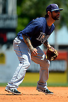 Tampa Bay Rays third baseman Ryan Roberts #19 during a Spring Training game against the Detroit Tigers at Joker Marchant Stadium on March 29, 2013 in Lakeland, Florida.  (Mike Janes/Four Seam Images)