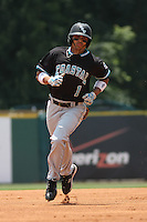 The Coastal Carolina University Chanticleers center fielder Rico Noel #1 rounding the bases after hitting a home run in the 1st inning during the 2nd and deciding game of the NCAA Super Regional vs. the University of South Carolina Gamecocks on June 13, 2010 at BB&T Coastal Field in Myrtle Beach, SC.  The Gamecocks defeated Coastal Carolina 10-9 to advance to the 2010 NCAA College World Series in Omaha, Nebraska. Photo By Robert Gurganus/Four Seam Images
