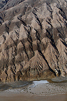 aerial photograph of  rock layers on the eastern side of Death Valley National Park, northern Mojave Desert, California