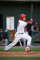 Harrisburg Senators designated hitter Neftali Soto (21) at bat during a game against the Bowie Baysox on May 16, 2017 at FNB Field in Harrisburg, Pennsylvania.  Bowie defeated Harrisburg 6-4.  (Mike Janes/Four Seam Images)