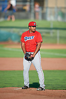 Andres Heredia (37) of the Orem Owlz looks to the plate against the Ogden Raptors in Pioneer League action at Lindquist Field on June 21, 2017 in Ogden, Utah. The Owlz defeated the Raptors 16-5. This was Opening Night at home for the Raptors.  (Stephen Smith/Four Seam Images)