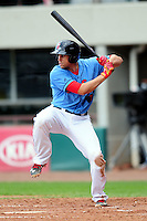 Pawtucket Red Sox third baseman Garin Cecchini (7) during a game versus the Durham Bulls at McCoy Stadium in Pawtucket, Rhode Island on May 3, 2015.  (Ken Babbitt/Four Seam Images)