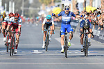 Race leader Elia Viviani (ITA) Quick-Step Floors wins with Marco Haller (AUT) Katusha Alpecin in 2nd place at the finish line of Stage 5 The Meraas Stage final stage of the Dubai Tour 2018 the Dubai Tour's 5th edition, running 132km from Skydive Dubai to City Walk, Dubai, United Arab Emirates. 10th February 2018.<br /> Picture: LaPresse/Fabio Ferrari | Cyclefile<br /> <br /> <br /> All photos usage must carry mandatory copyright credit (© Cyclefile | LaPresse/Fabio Ferrari)