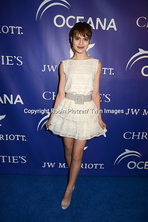 Sami Gayle in Alice and Olivia white dress attends the Inaugural Oceana Ball on April 8,2013 at Christie's in New York City.