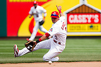 Jose Garcia (3) of the Springfield Cardinals makes a stop on a ground ball during a game against the Midland RockHounds on April 19, 2011 at Hammons Field in Springfield, Missouri.  Photo By David Welker/Four Seam Images