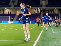 ORLANDO, FL - JANUARY 22: Rose Lavelle #16 of the USWNT steps onto the field before a game between Colombia and USWNT at Exploria stadium on January 22, 2021 in Orlando, Florida.