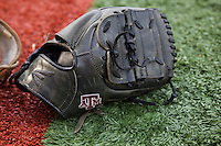 Texas A&M Aggies baseball glove on April 24, 2015 at Alex Box Stadium in Baton Rouge, Louisiana. LSU defeated Texas A&M 9-6. (Andrew Woolley/Four Seam Images)
