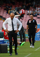 Calcio, Serie A: Napoli vs Roma. Napoli, stadio San Paolo, 15 ottobre. <br /> Roma's coach Luciano Spalletti, left, and Napoli's coach Maurizio Sarri during the Italian Serie A football match between Napoli and Roma at Naples' San Paolo stadium, 15 October 2016. Roma won 3-1.<br /> UPDATE IMAGES PRESS/Isabella Bonotto