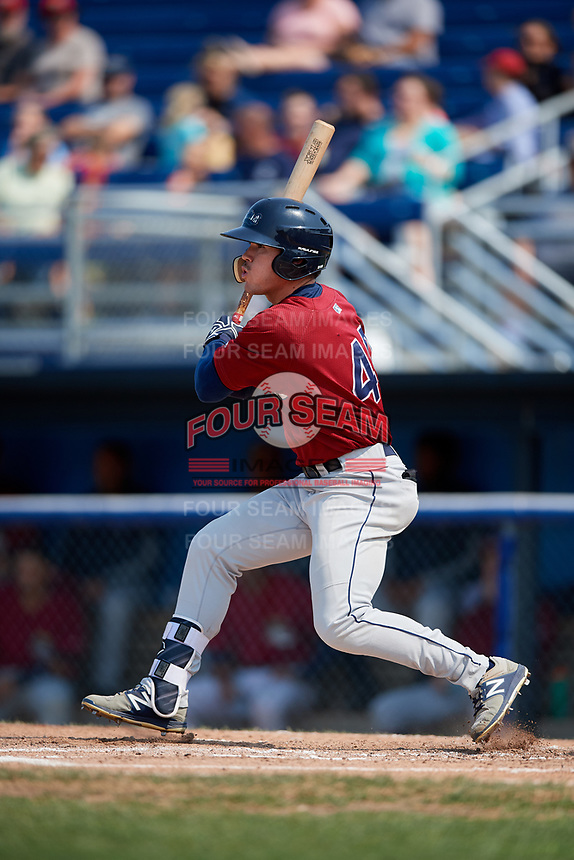 Mahoning Valley Scrappers center fielder Austen Wade (40) hits a single during the first game of a doubleheader against the Batavia Muckdogs on September 4, 2017 at Dwyer Stadium in Batavia, New York.  Mahoning Valley defeated Batavia 4-3.  (Mike Janes/Four Seam Images)