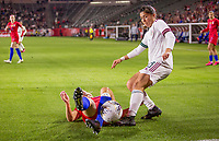 CARSON, CA - FEBRUARY 7: Julie Ertz #8 of the United States slides tackles Kiana Palacios #8 of Mexico during a game between Mexico and USWNT at Dignity Health Sports Park on February 7, 2020 in Carson, California.