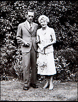 BNPS.co.uk (01202) 558833<br /> Picture: BNPS<br /> <br /> Donald and Isobel Grist after the war in the garden of their cottage in Suffolk.<br /> <br /> Paintings secretly produced by a British woman inside a hellish Japanese prisoner of war camp using brushes made from human hair have come to light.<br /> <br /> Isobel Grist depicted scenes of camp life while she and her husband Donald spent three years imprisoned at the notorious Changi PoW camp in Singapore. <br /> <br /> The talented artist had grabbed her paints just as the couple were marched off to the camp following the fall of Singapore in 1942.