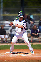 FDU-Florham Devils first baseman Christopher Franco (21) at bat during the first game of a doubleheader against the Farmingdale State Rams on March 15, 2017 at Lake Myrtle Park in Auburndale, Florida.  Farmingdale defeated FDU-Florham 6-3.  (Mike Janes/Four Seam Images)
