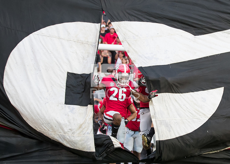 Athens, GA - September 16, 2017: The 11th ranked University of Georgia Bulldogs host the number 17 ranked Mississippi State Bulldogs at Sanford Stadium.  Final score University of Georgia 31, Mississippi State 3.