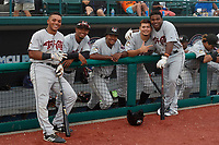 Tri-City ValleyCats (L-R) Luis Guerrero (8), Yeuris Ramirez (4), Juan Ramirez (5), Juan Pablo Lopez (18), and Luis Santana (7) during a NY-Penn League game against the Brooklyn Cyclones on August 17, 2019 at MCU Park in Brooklyn, New York.  Brooklyn defeated Tri-City 2-1.  (Mike Janes/Four Seam Images)