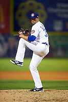 Chattanooga Lookouts pitcher D.J. Johnson (38) delivers a pitch during a game game against the Jacksonville Suns on April 30, 2015 at AT&T Field in Chattanooga, Tennessee.  Jacksonville defeated Chattanooga 6-4.  (Mike Janes/Four Seam Images)