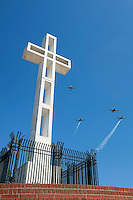 The San Diego T-34 Formation Team perform the Missing Man Formation during Memorial Day ceremonies at Mount Soledad in La Jolla, Monday May 26 2008.