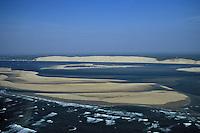 Europe/France/Aquitaine/33/Gironde/Bassin d'Arcachon: Dune du Pilat, banc du Tourlinguet et banc d'Arguin - Vue aérienne