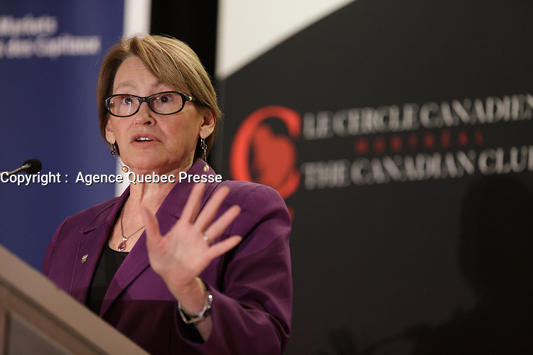 Suzanne Fortier, Principal & Vice-Chancellor of McGill University, deliverS a speech to the Canadian Club of Montreal, Monday, May 2nd, 2016<br /> <br /> PHOTO :   Pierre Roussel - Agence Quebec presse
