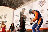 Will Power, Team Penske Chevrolet, Scott Dixon, Chip Ganassi Racing Honda, celebrate with champagne