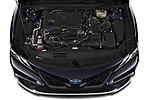 Car Stock 2021 Toyota Camry-Hybrid XSE 4 Door Sedan Engine  high angle detail view