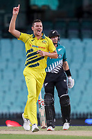 13th March 2020, Sydney Cricket Ground, Sydney, Australia;  Josh Hazlewood of Australia celebrates after taking the wicket of Henry Nicholls of the Blackcaps. International One Day Cricket. Australia versus New Zealand Blackcaps, Chappell–Hadlee Trophy, Game 1.