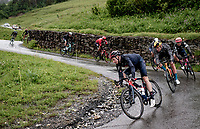 Tao Geoghegan Hart (GBR/INEOS Grenadiers) descending the Col du Pré (HC/1748m) towards the Barrage de Roselend in, yet again, grim conditions.<br /> <br /> Stage 9 from Cluses to Tignes (145km)<br /> 108th Tour de France 2021 (2.UWT)<br /> <br /> ©kramon