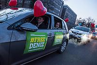 """Auto-Korso fuer den in der Tuerkei inhaftierten deutsch-tuerkischen Journalist und Publizist Deniz Yuecel unter dem Motto #FreeDeniz-""""KORSO DER HERZEN"""" am Mittwoch den 14. Februar 2018.<br /> Der Korrespondent der deutschen Tageszeitung """"Welt"""" ist seit Februar 2017 in der Tuerkei ohne Anklage inhaftiert. Im wird wegen seiner Berichterstattung aus der Tuerkei """"Propaganda fuer eine terroristische Vereinigung und Aufwiegelung der Bevoelkerung"""" vorgeworfen.<br /> 14.2.2018, Berlin<br /> Copyright: Christian-Ditsch.de<br /> [Inhaltsveraendernde Manipulation des Fotos nur nach ausdruecklicher Genehmigung des Fotografen. Vereinbarungen ueber Abtretung von Persoenlichkeitsrechten/Model Release der abgebildeten Person/Personen liegen nicht vor. NO MODEL RELEASE! Nur fuer Redaktionelle Zwecke. Don't publish without copyright Christian-Ditsch.de, Veroeffentlichung nur mit Fotografennennung, sowie gegen Honorar, MwSt. und Beleg. Konto: I N G - D i B a, IBAN DE58500105175400192269, BIC INGDDEFFXXX, Kontakt: post@christian-ditsch.de<br /> Bei der Bearbeitung der Dateiinformationen darf die Urheberkennzeichnung in den EXIF- und  IPTC-Daten nicht entfernt werden, diese sind in digitalen Medien nach §95c UrhG rechtlich geschuetzt. Der Urhebervermerk wird gemaess §13 UrhG verlangt.]"""