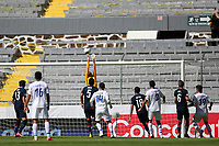 GUADALAJARA, MEXICO - MARCH 18: David Ochoa #20 of the United States makes a save during a game between Costa Rica and USMNT U-23 at Estadio Jalisco on March 18, 2021 in Guadalajara, Mexico.