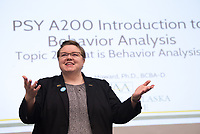 Dr. Veronica Howard teaches Intro to Behavioral Analysis (PSY A200) in UAA's Social Sciences Building.