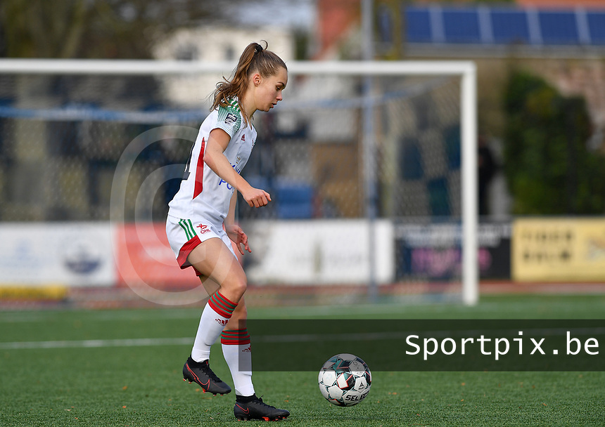 OHL's Marith De Bondt pictured during a female soccer game between Club Brugge Dames YLA and Oud Heverlee Leuven on the 8 th matchday of the 2020 - 2021 season of Belgian Scooore Womens Super League , saturday 21 th November 2020  in Knokke , Belgium . PHOTO SPORTPIX.BE   SPP   DAVID CATRY