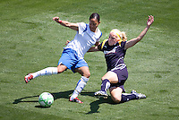 Boston Breaker's Alex Scott and LA Sol's Katie Larkin battle. The Boston Breakers and LA Sol played to a 0-0 draw at Home Depot Center stadium in Carson, California on Sunday May 10, 2009.   .